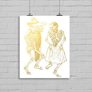 Day of the Dead Faux Gold Foil Art Print - Wall Art - Home Decor - Office Decor - Mexican Art