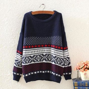 CREYUG3 New Women Long Sleeve Geometric Pattern Knitted Jumper Pullover Sweater Tops@Maggie Shop (Color: Navy blue) = 1946254020