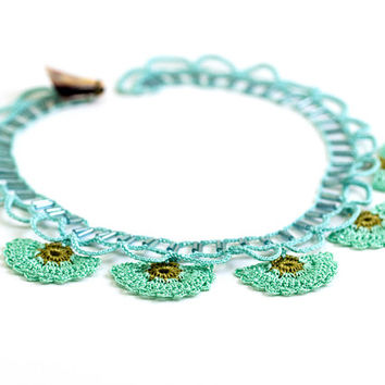 Mint Crochet Lace Statement Necklace Choker Carnation Flower Ottoman Iznik Tile Doily Boho Chic Archeology History
