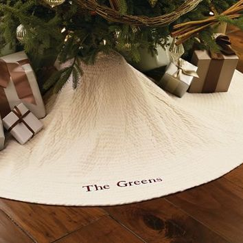 Channel Quilted Velvet Tree Skirt | Pottery Barn