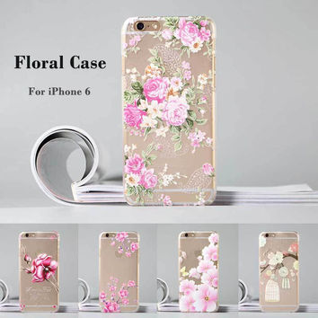 Phone Case Cover Luxury Fashion Floral Painted 3D Relief Transparent For iPhone 6 4.7 Case Flower
