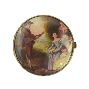 Vintage West Germany Double Mirror Compact French Courting Scene Flapjack Compact