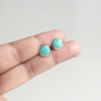 Round Turquoise Stud Earrings, Turquoise Jewelry, Boho Stud earrings, Turquoise Earrings, Turquoise Post Earrings, Blue Stud Earrings, Gift
