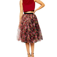 Multicolor Floral Tiered Tulle Skirt
