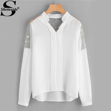 Sheinside Embroidery Mesh Paneled High Low V Neck Blouse Women Band Collar Long Sleeve Plain Blouse 2017 Casual Blouse