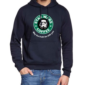 "MEN'S STARBUCKS STYLE ""STAR WARS COFFEE - MAY THE FROTH BE WITH YOU"" Hooded Sweatshirt (BLACK, BLUE, NAVY, GRAY, RED)"