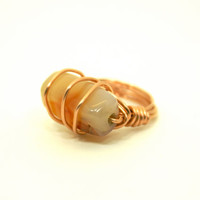 Wire Wrapped Ring Copper with Vintage Agate Stone Bead Size 6 1/2