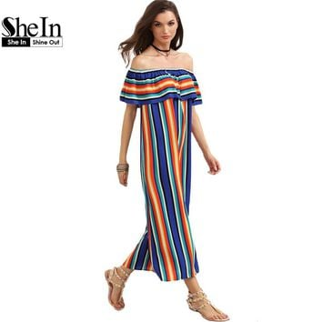SheIn Women New Summer Beach Casual Long Dresses Ladies Multicolor Striped Short Sleeve Off The Shoulder Ruffle Dress