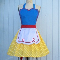 retro apron SNOW WHITE inspired retro APRON by loverdoversclothing