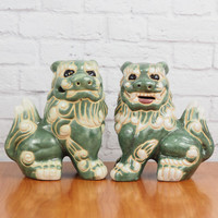 Vintage Foo Dog Pair // Aqua and White // Asian Home Decor Feng Shui