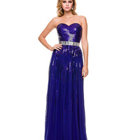 Royal Sequin & Chiffon Strapless Gown 2015 Prom Dresses