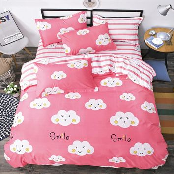 2017New Brief style clouds white pink stripe bed sheet linens bedding sets Twin Double full Queen Size duvet cover pillowcase