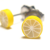 Lemon fruit stud earrings