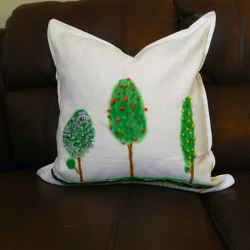 Original oil paint- hand painted- ribbon embroidery- trees- cotton canvas pillow cover.