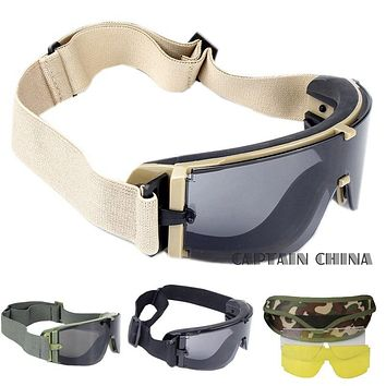 Military Airsoft Tactical 3 Lens Assorted Colors Goggle Army Tactical Sunglasses Glasses Army Paintball Goggles FREE SHIPPING