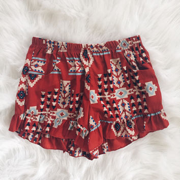 Hope Print Ruffle Shorts (Rust)