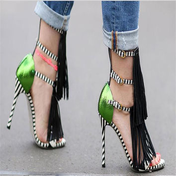 Brand New High Heels Fringe Summer Sandals Sexy Open Toe Plus Size Gladiator Runway Party Shoes Women Pumps Zapatos Mujer 749