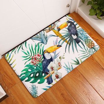 Water Absorption Door Mats Colorful Tropical Flamingo Peacock Floral Bird World Pattern Muti-purpose Bedroom Rugs Decor