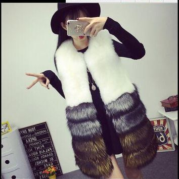 Brand Faux Fur Vest Winter Women Faux Fox Fur Vest Furry Slim Colored Fur Vest Woman Fake Fur Vest Plus Size High Quality