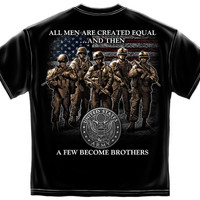"(ALL-NEW-OFFICIALLY-LICENSED-U.S.ARMY ""A-FEW-BECOME-BROTHERS"" DOUBLE-SIDED,NICE-DETAILED-GRAPHIC-PRINTED-PREMIUM-TEES:)"