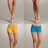 Womens Sexy Candy Colors Stretch SKINNY Cotton SHORTS Low Waist Pants