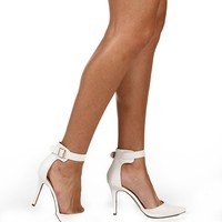 White Trend Ankle Strap Shoes