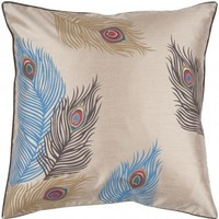 Surya Decorative Pillow HH097 Khaki Tan Espresso Atlantic Blue, Surya