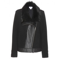 helmut lang - wool jacket with shearling trim
