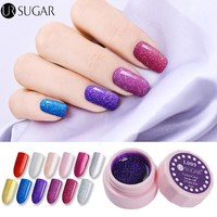 UR SUGAR 5ml Holographic Glitter Nail Gel Polish UV LED Soak Off Paint Gel Color Coat Nail Art UV Gel Lacquer Vanish DIY
