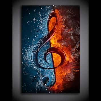 1 Panel Music Musical  Note Ice and Fire Wall Art Canvas Print Framed UNframed
