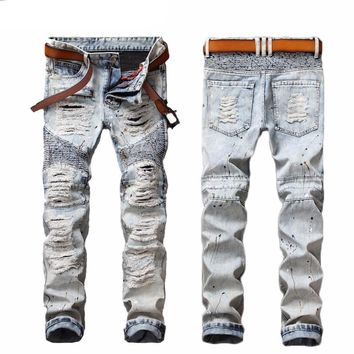 Mens Ripped Biker Bleached Blue Jeans Skinny Distressed Slim Fit Denim Pants