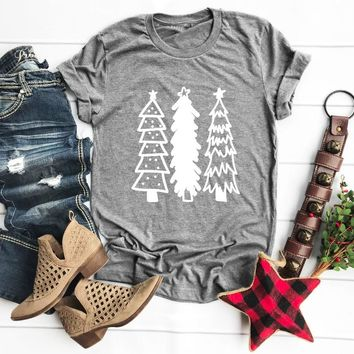 New arrival Christmas tree funny cotton graphic harajuku aesthetic tumblr tee holiday party street style vintage shirt goth tees