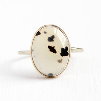 Antique Agate Ring - Vintage 10k Rosy Yellow Gold Edwardian Gemstone - Early 1900s Size 6 1/2 Clear & Brown Oval Gem Cabochon Fine Jewelry
