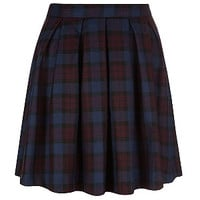 Plum Check Box Pleat Skater Skirt