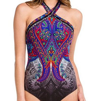 Gottex Folklore High Neck Underwire One Piece Swimsuit