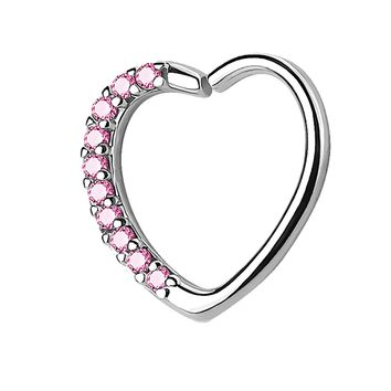 BodyJ4You 16G (1.2mm) Daith Earring Paved Pink CZ Heart Silvertone Tragus Helix Cartilage Hoop Body Jewelry