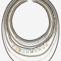 LAYERED STONE AND MIXED CHAIN NECKLACE from EXPRESS