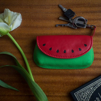 Leather key purse watermelon women leather key pouch designer key holder leather key case key pouch red green key purse watermelon accessory