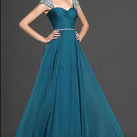 Diamond shoulder cap prom dress    floor length long chiffon prom dresses    cheap formal evening gowns