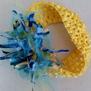 Girls Headband ~ Fabric Shabby Chic Headband ~ Childs Headband ~ Scrappy Headband ~ Yellow Headband ~ Summer Headband - Blue Headband