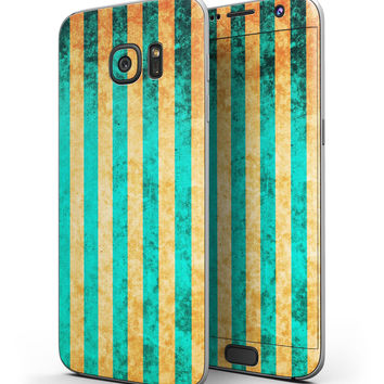 Teal Green Vertical Stripes of Gold - Full Body Skin-Kit for the Samsung Galaxy S7 or S7 Edge