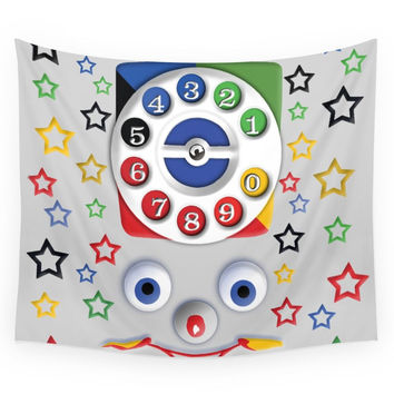 Society6 Retro Vintage Smiley Kids Toys Dial Phone IPhone 4 4s 5 5s 5c, Ipod, Ipad, Pillow Case And Tshirt Wall Tapestry