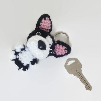 Boston Terrier Keychain American Dog Crochet Purse Charm Amigurumi Figurine Plush