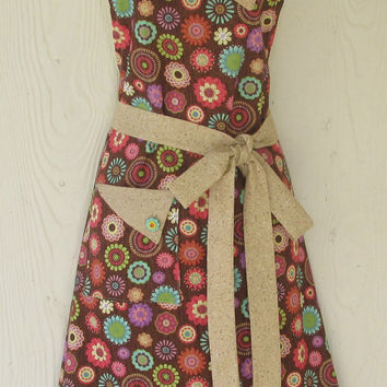 "Floral Apron , Boho , Retro Style , 60""s Flower Power , Women's Full Apron , KitschNStyle"