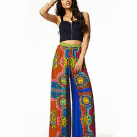 Multicolored Scarf Print Pants
