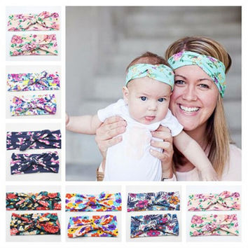 2Pcs Set Mom and Me Boho Turban Headband Top Knotted Rabbit Ears Elastic Bowknot Matching Headband Baby and Mommy Headwrap Gifts