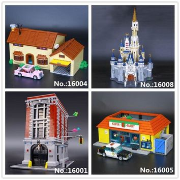 LEPIN 16001 Ghostbusters Firehouse Headquarters 16004 The Simpsons Bart Homer 16005 Kwik-E-Mart 16008 Castle Building Block Toys