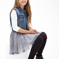 FOREVER 21 GIRLS Button-Front Denim Vest (Kids)