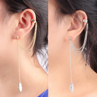 4pcs Tassel Chains Leaf Pendant Ear Cuff Elegant Women Girls Clip Stud Earring Fashion Jewelry Gold Plated Silver Plated Color