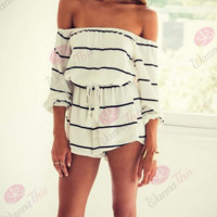 Fashion Sexy 7 minutes of sleeve off shoulder stripe romper
